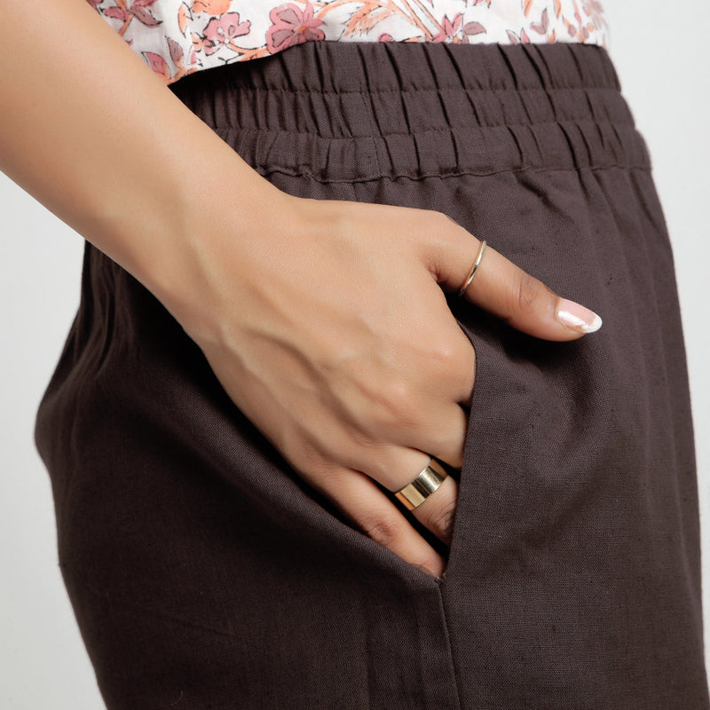 Right Detail of a Model wearing Solid Brown Cotton Flax Culottes