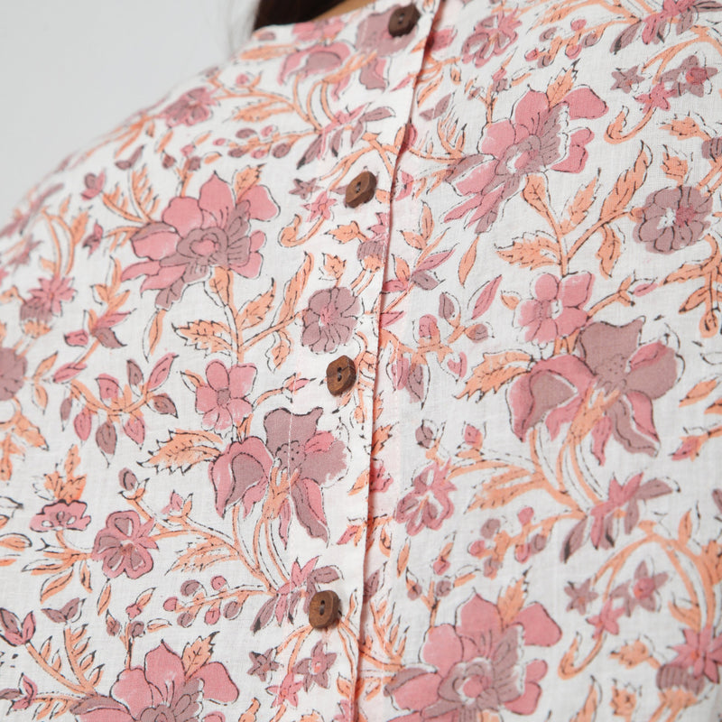 Back Detail of a Model wearing White Floral Printed Sleeveless Top