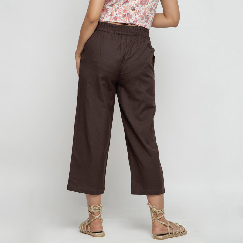 Back View of a Model wearing Solid Brown Cotton Flax Culottes