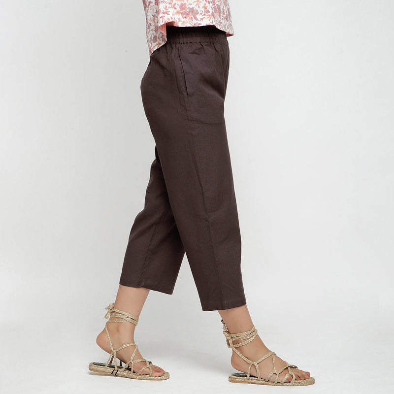 Right View of a Model wearing Solid Brown Cotton Flax Culottes
