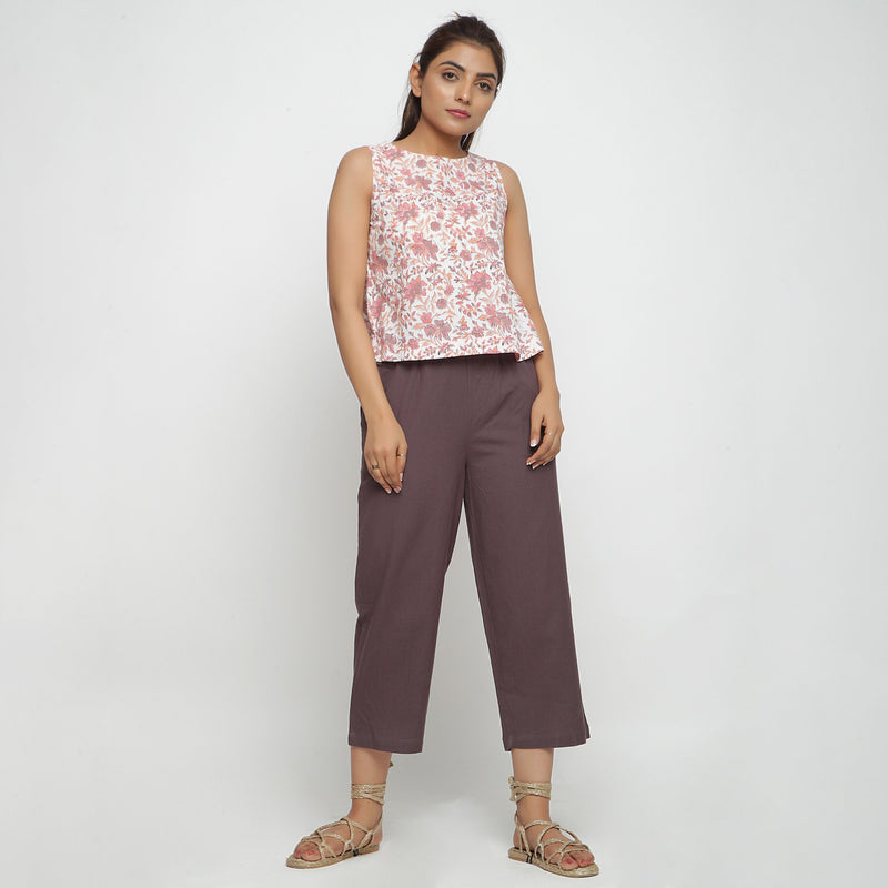 Front View of a Model wearing Sanganeri Floral Print Top and Culottes Set