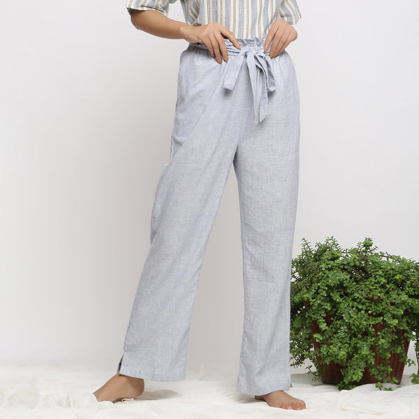 Front View of a Model wearing Sky Blue Handspun Breezy Paperbag Pant