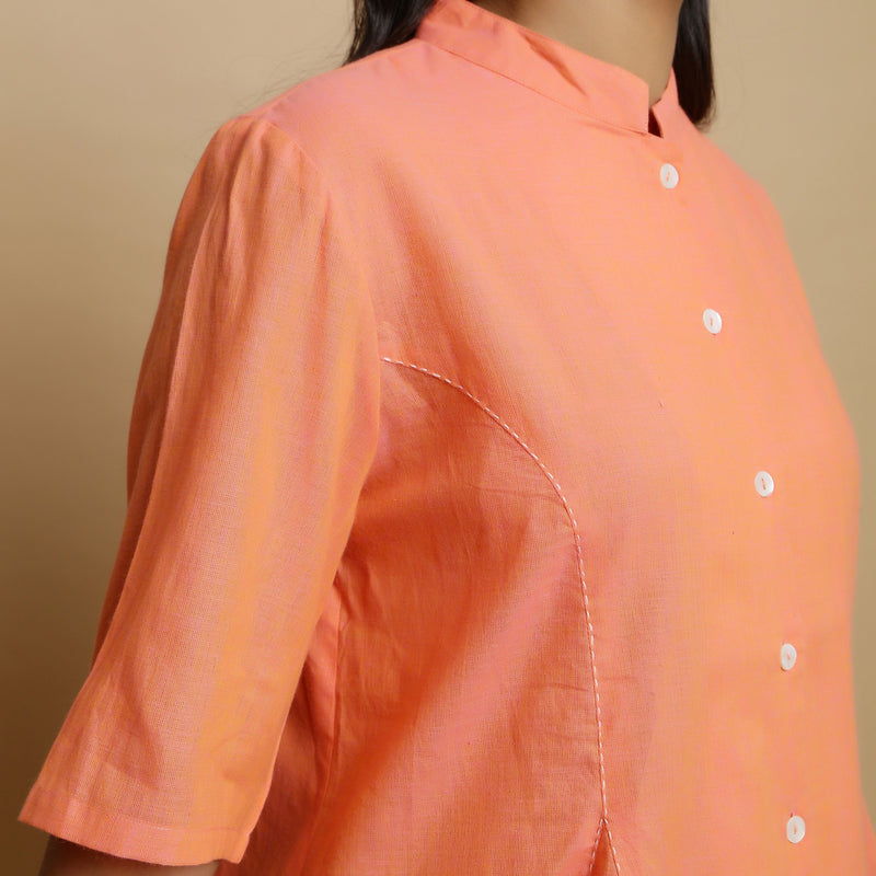 Front Detail of a Model wearing Handwoven Cotton Godet Button-Down Top