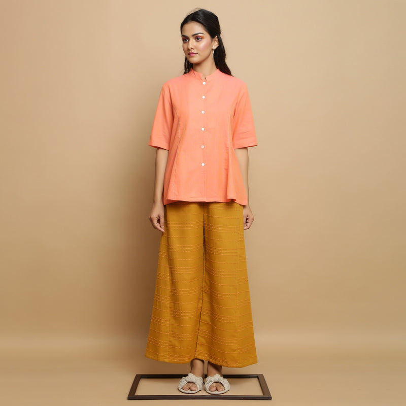 Comfy Handwoven Godet Top and Striped Pant Set