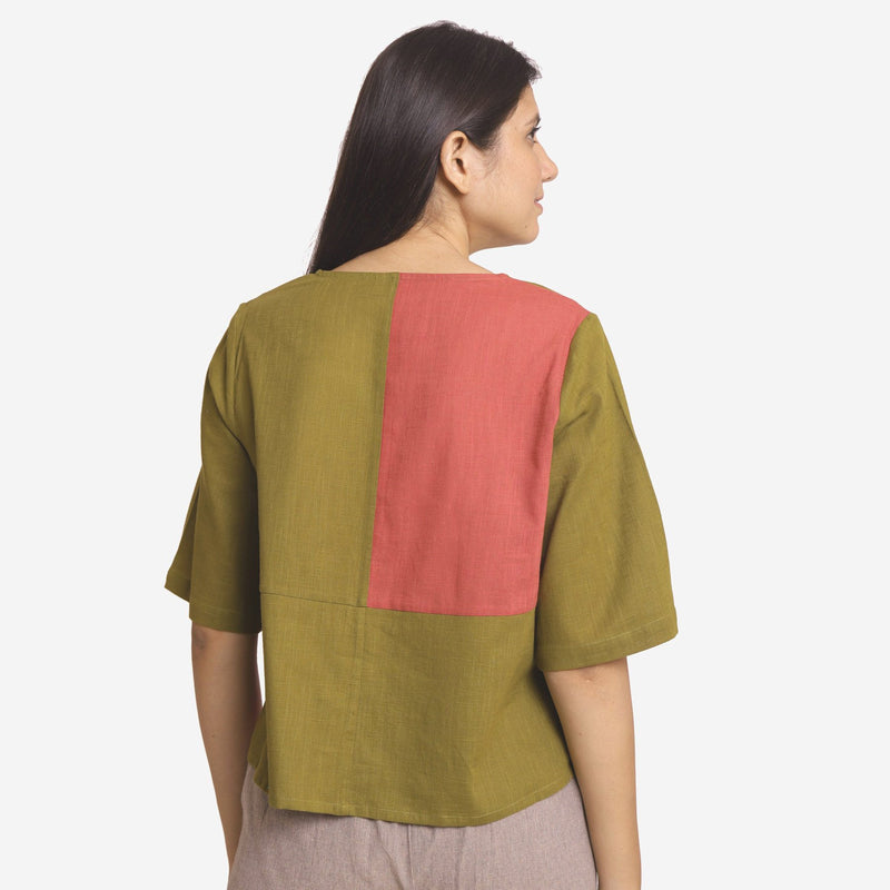 Back View of a Model wearing Khaki Green and Brick Red Relaxed Fit Top