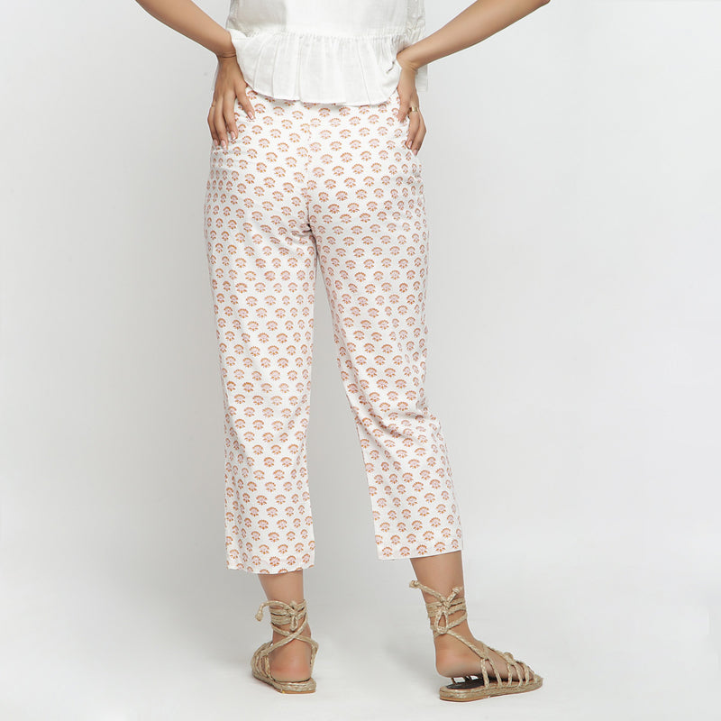 Back View of a Model wearing Hand-Block Printed Floral Straight Pant