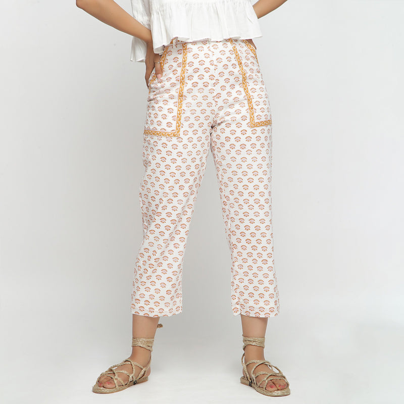 Front View of a Model wearing Hand-Block Printed Floral Straight Pant