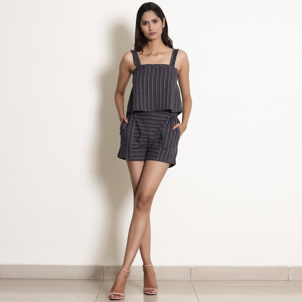 Front View of a Model wearing Comfy Navy Blue Striped Cami and Shorts Set