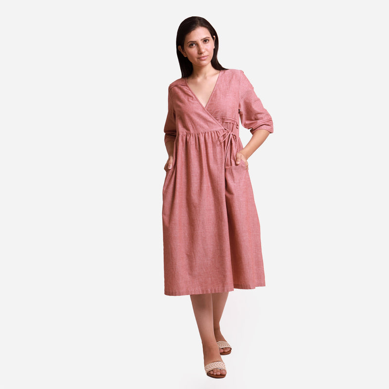 Front View of a Model wearing Solid Brown Tie Up Cotton Wrap Dress