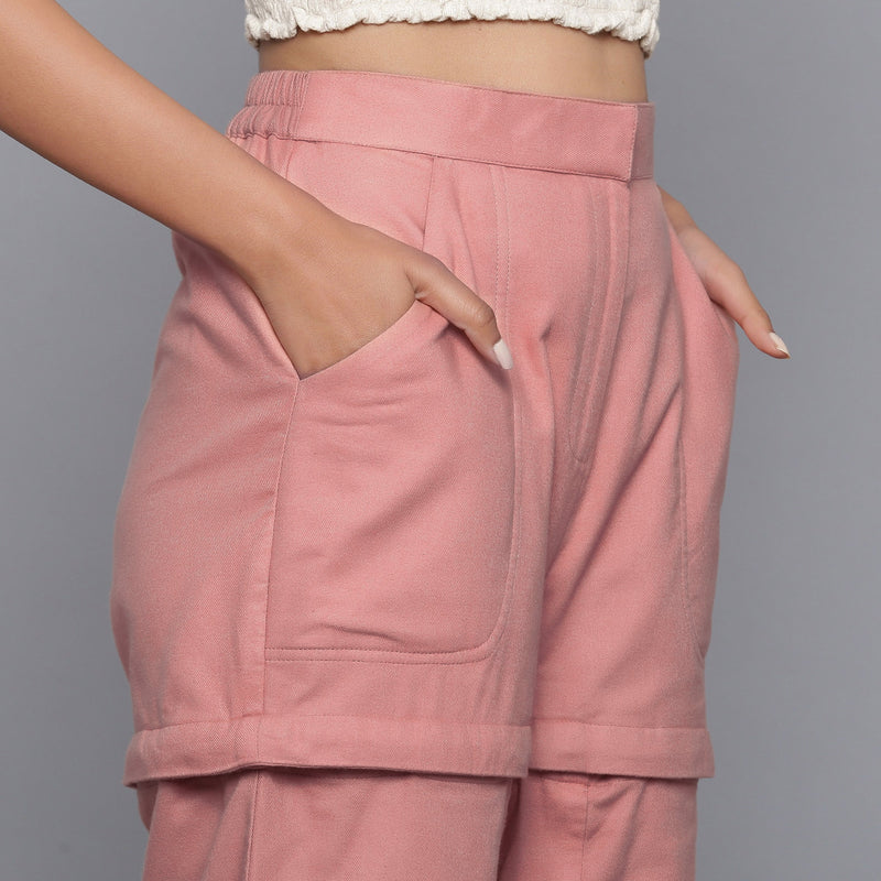Right Detail of a Model wearing Pink Flannel Convertible Pant Shorts