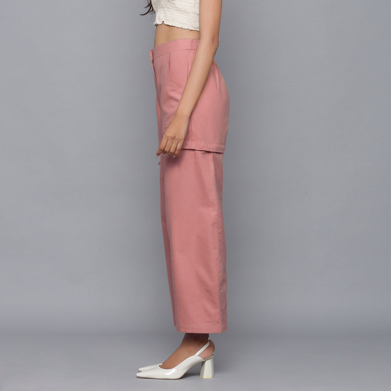 Left View of a Model wearing Pink Flannel Convertible Pant Shorts
