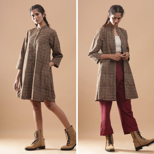 Convertible Warm Kalamkari Button-Down Overlay Dress