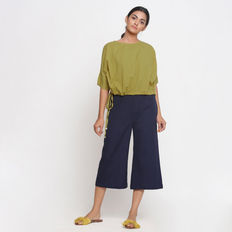 Cool Green and Navy Blue Culottes Set