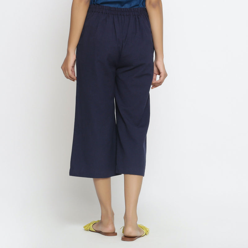 Back View of a Model wearing  Solid Navy Blue Cotton Flax Culottes