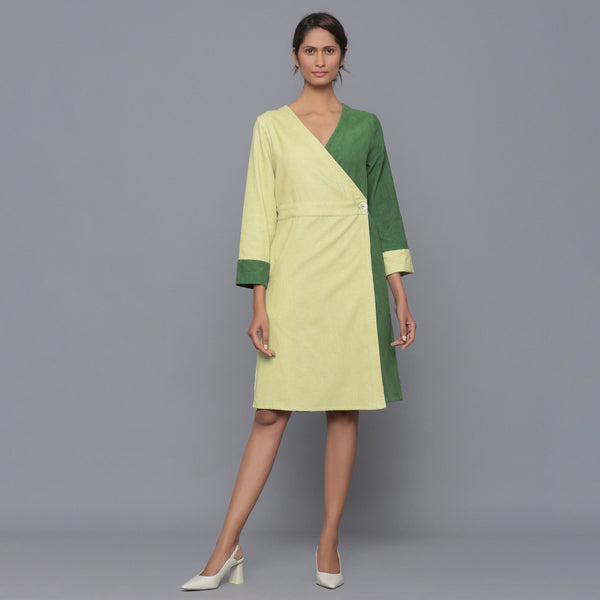 Front View of a Model wearing Cotton Corduroy V-Neck Wrap Dress