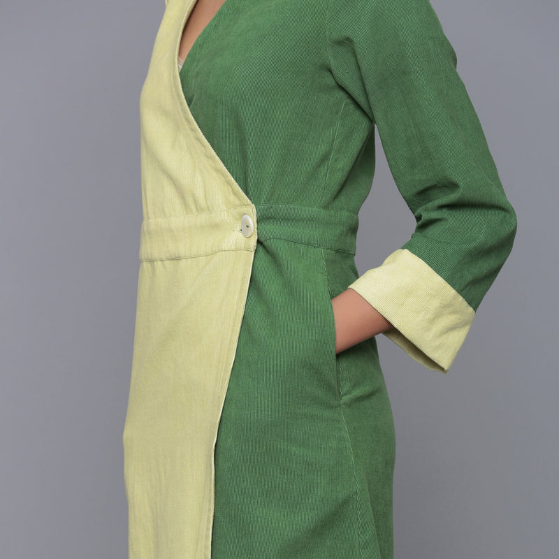 Left Detail of a Model wearing Cotton Corduroy V-Neck Wrap Dress