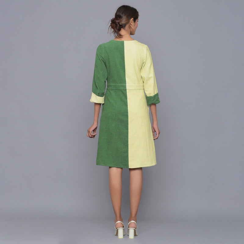 Back View of a Model wearing Cotton Corduroy V-Neck Wrap Dress