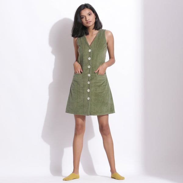 Front View of a Model wearing Cotton Corduroy Green Button-Down Dress
