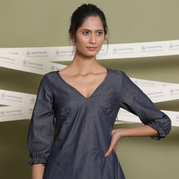 Front View of a Model wearing Cotton Denim A-Line Blouson Dress