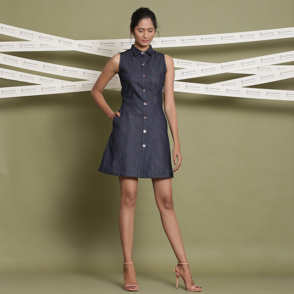 Front View of a Model wearing Cotton Denim Button-Down Shirt Dress