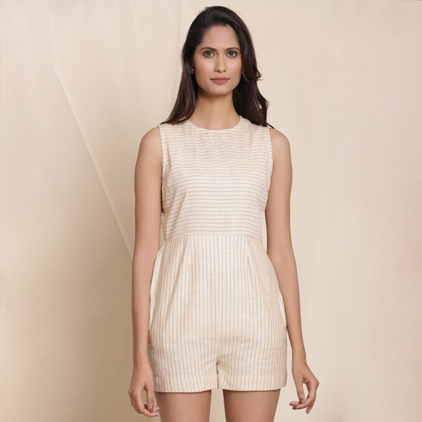 Front View of a Model wearing Cotton Dusk Beige Striped Sleeveless Romper
