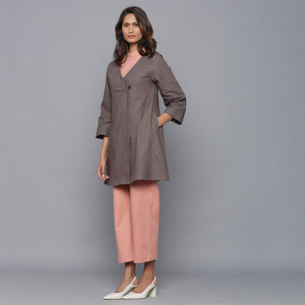 Left View of a Model wearing Cotton Flannel Jumpsuit and Wrap Overlay Set