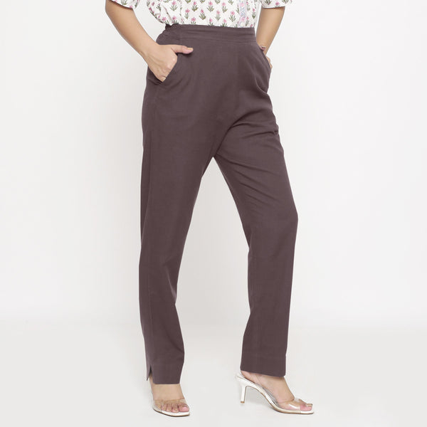 Right  View of a Model wearing Cotton Flax Mid-Rise Brown Tapered Pant