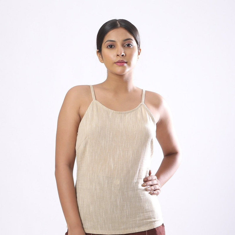 Front View of a Model wearing Solid Beige Cotton Flax Spaghetti Top