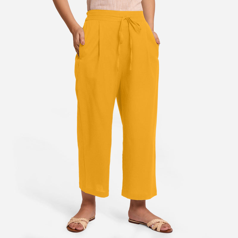 Front View of a Model wearing Yellow Cotton Flax Wide Legged Pant