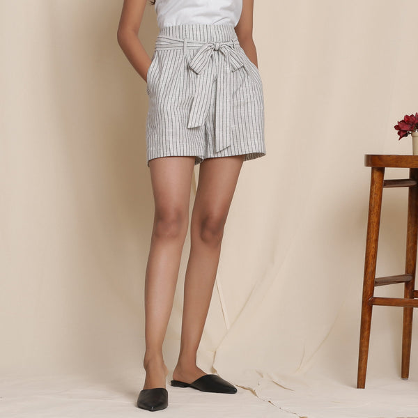 Front View of a Model wearing Cotton Grey Striped Paperbag Shorts