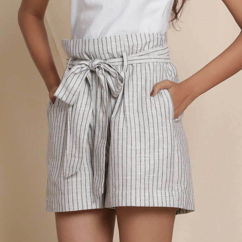 Front Detail of a Model wearing Cotton Grey Striped Paperbag Shorts
