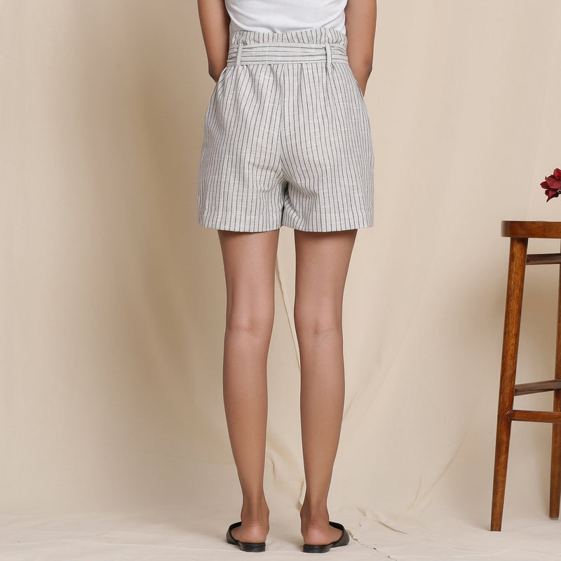 Back View of a Model wearing Cotton Grey Striped Paperbag Shorts
