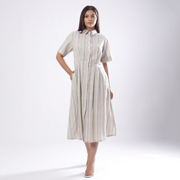 Front View of a Model wearing Handspun Cotton Muslin Button-Down Shirt Dress