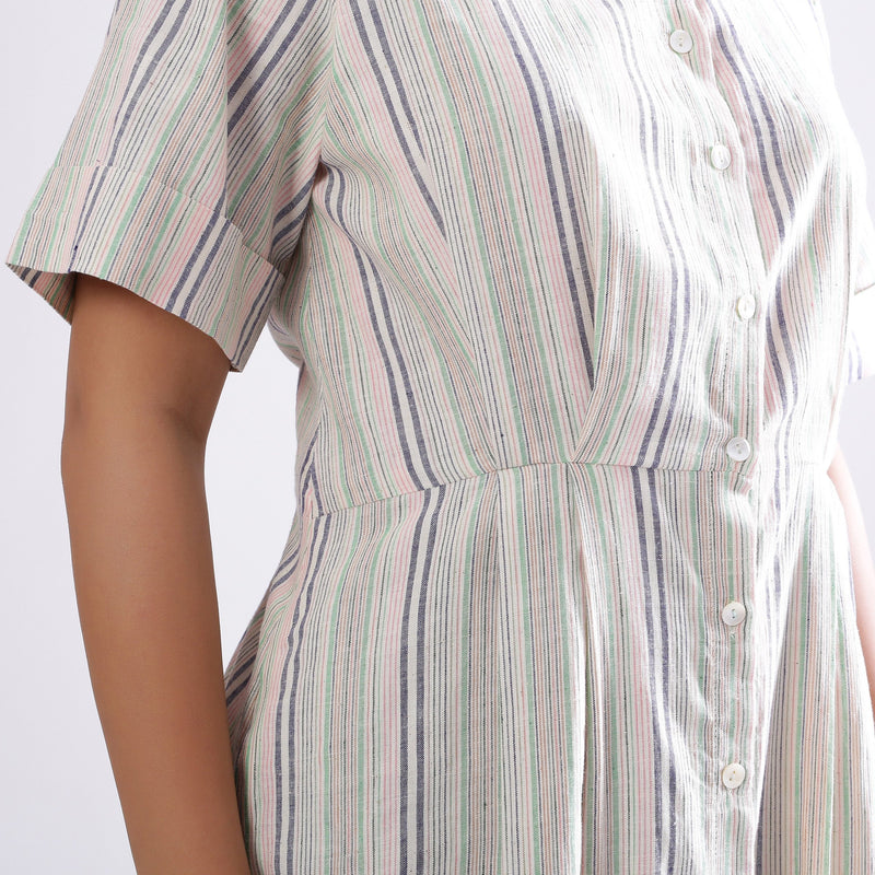 Front Detail of a Model wearing Handspun Cotton Muslin Button-Down Shirt Dress