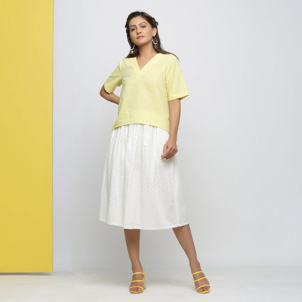 Front View of a Model wearing Cotton Schiffli Off-White Gathered Skirt