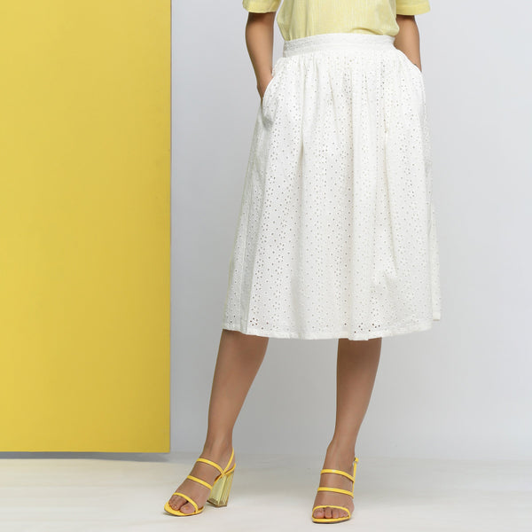 Front View of a Model wearing Off-White Cotton Schiffli Gathered Skirt