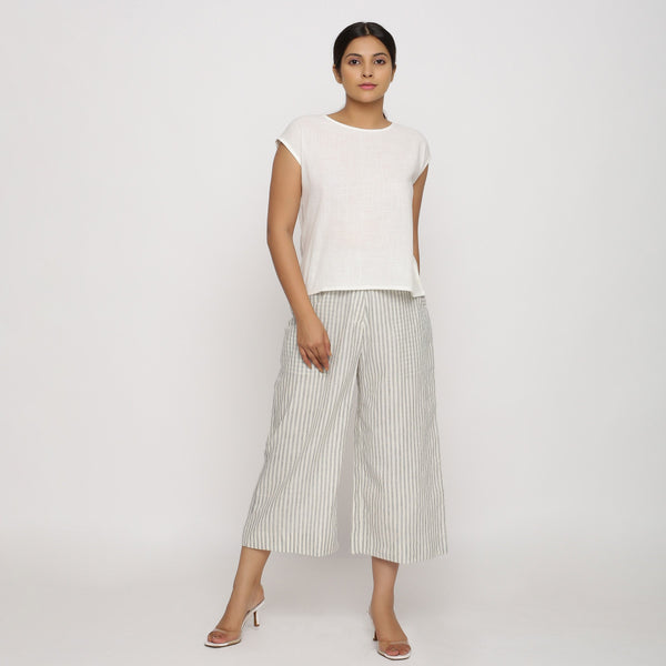 Cotton Slub Top and Handspun Culottes Set
