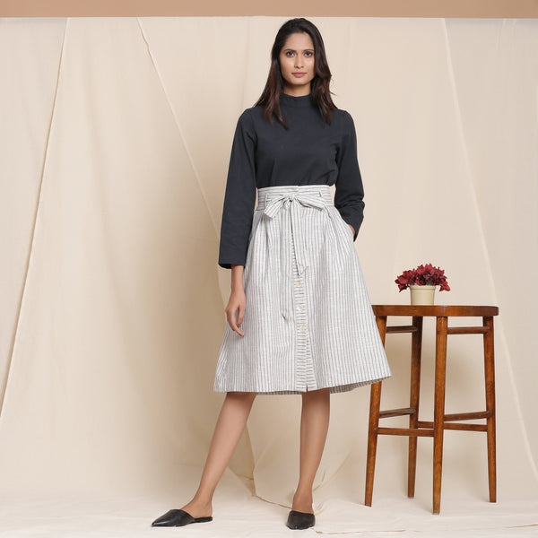 Front View of a Model wearing Cotton Striped Grey Paperbag Button-Down Skirt