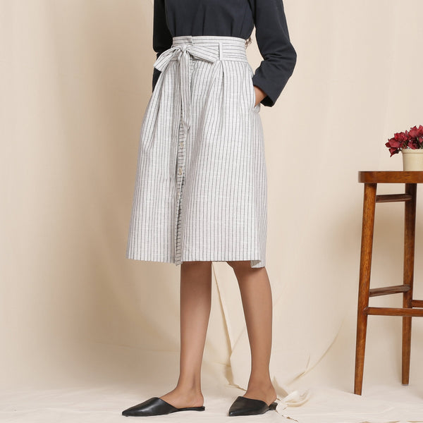 Left View of a Model wearing Cotton Striped Grey Paperbag Button-Down Skirt