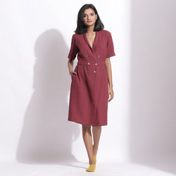 Front View of a Model wearing Cotton Waffle Barn Red Coat Dress