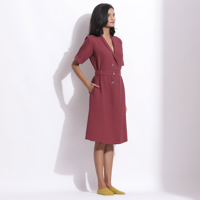 Right View of a Model wearing Cotton Waffle Barn Red Coat Dress