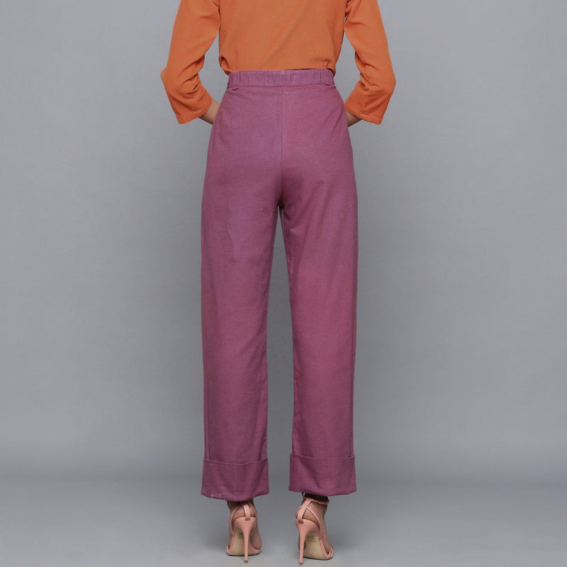 Back View of a Model wearing Wine Flannel Rolled-Up Straight Pant