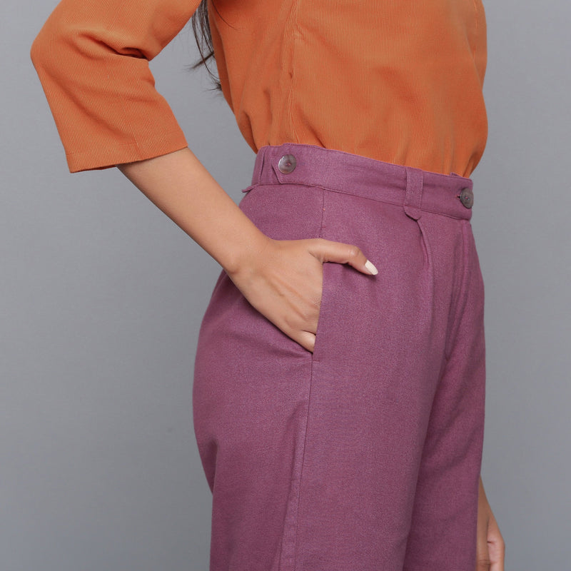 Right Detail of a Model wearing Wine Flannel Rolled-Up Straight Pant