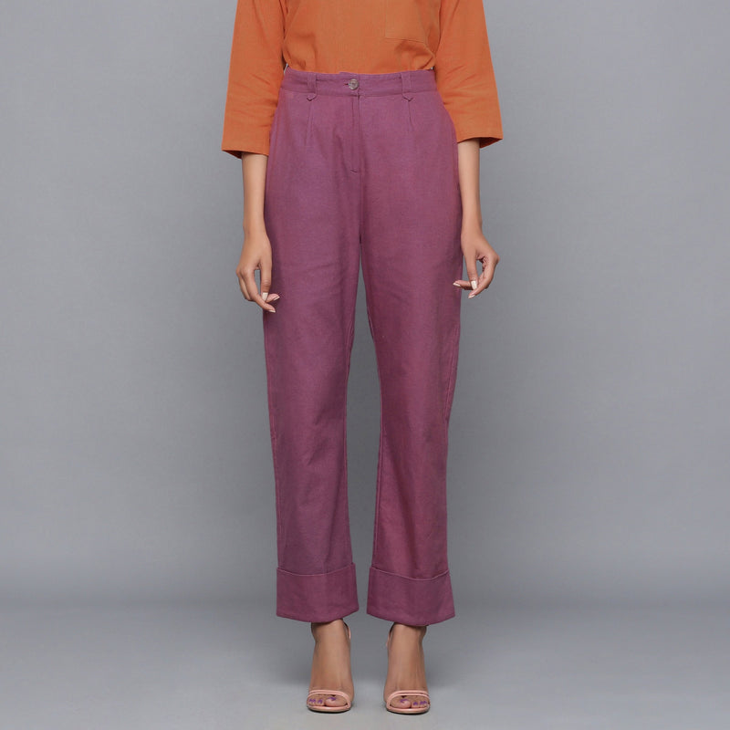 Front View of a Model wearing Wine Flannel Rolled-Up Straight Pant