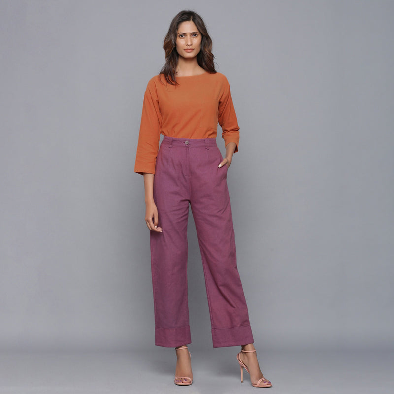 Cozy Drop Shoulder Top and Rolled Up Pant Set