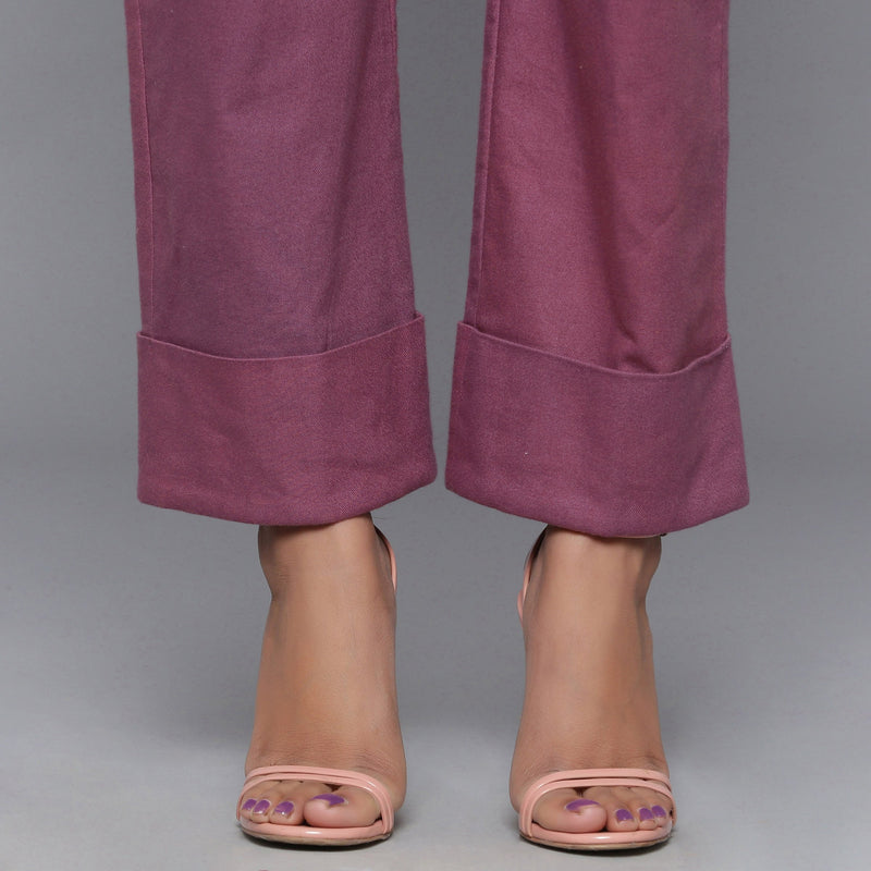 Close View of a Model wearing Wine Flannel Rolled-Up Straight Pant