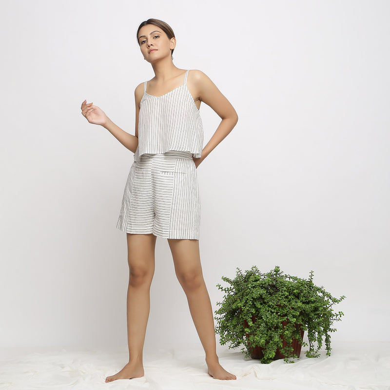 Front View of a Model wearing Handspun Cotton Striped Paneled Shorts