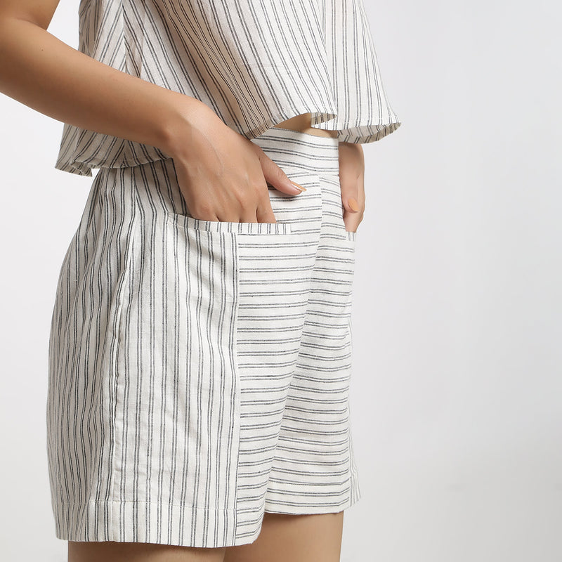 Right Detail of a Model wearing Handspun Cotton Striped Paneled Shorts