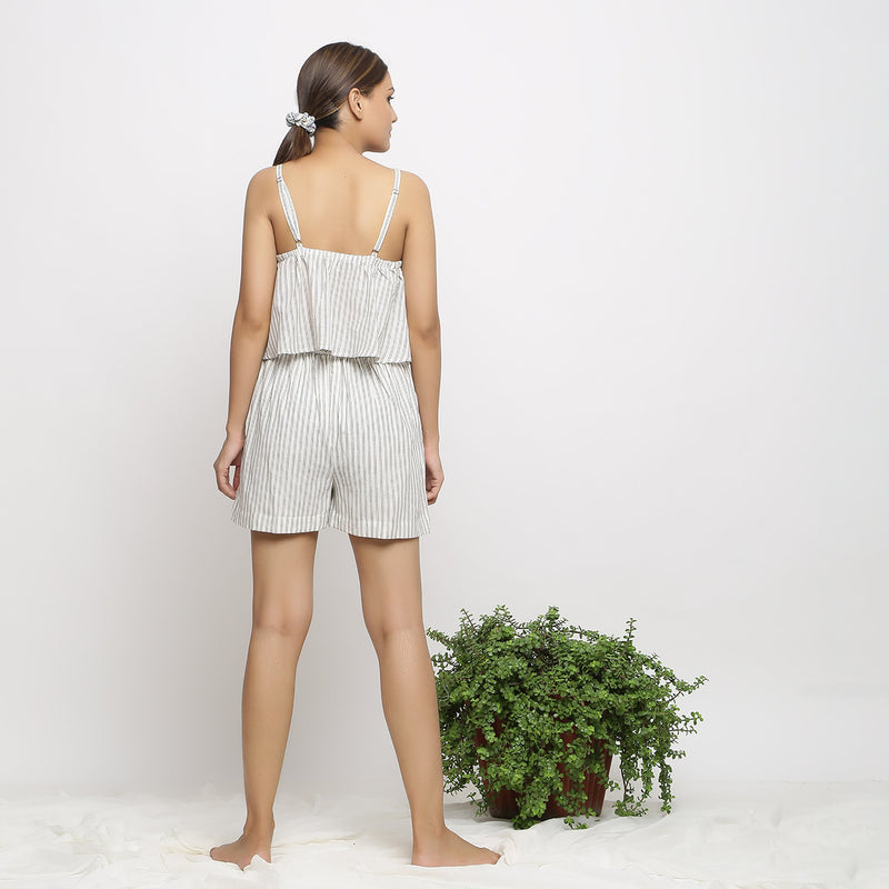 Back View of a Model wearing Handspun Cotton Striped Paneled Shorts