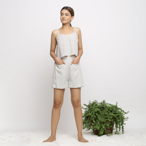 Front View of a Model wearing Cozy Handspun Paneled Shorts